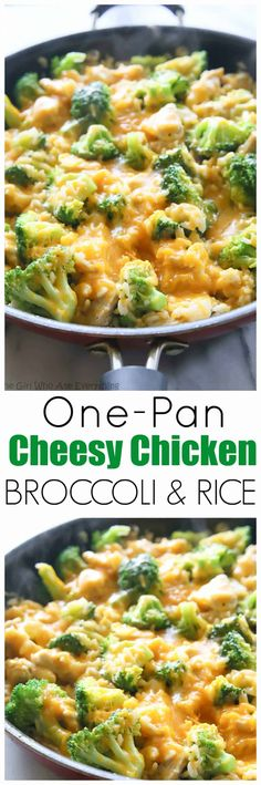 One-Pan Cheesy Chicken Broccoli and Rice Skillet - my go-to for an easy dinner. the-girl-who-ate-everything.com