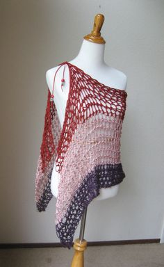Frühjahr Sommer Wrap Schal Poncho rot Rosa dunkel von marianavail