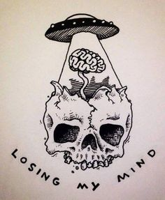 #psychedelic #trippy #skull #skeleton #ufo #aliens #brains #losingmymind #art #artistic #drawings #p - damn.chillbruh