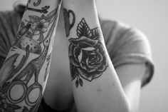 bird, girl, oldschool, tattoo