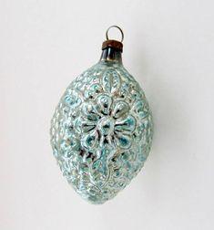 Vintage Christmas Ornament/Tear Drop Ornament/ Flower Bump Bumpy Ornament