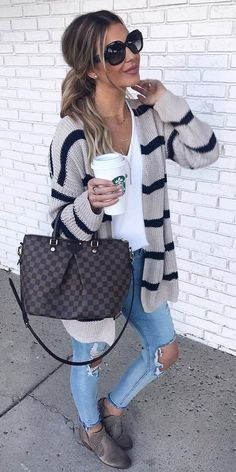casual outfit idea : knit stripped cardigan + bag + top + rips + boots