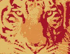 Cross Stitch Kit  Tiger  fire  Tiger Elements by FredSpools, $15.00