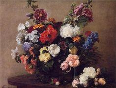 Bouquet of Diverse Flowers - Henri Fantin-Latour - 1881 - collection privee