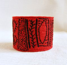 Felt cuff bracelet embroidery red black tribal by LenteJulcsi, $26.00