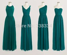 DARK TEAL BRIDESMAID long DRESSES | Line Teal green Four Style Long bridesmaid dresses chiffon bridesmaid ...