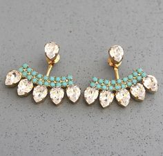Accessories Ear Jacket Earrings White Crystal Turquoise Swarovski Ear Jacket Earrings Crystal Earjacket Earrings For Brides, Bridal Something Blue Jewelry Box, Jewelry Accessories, Fashion Accessories, Jewlery, Fashion Jewelry, Men's Jewellery, Designer Jewellery, Diamond Jewellery, Jewellery Designs