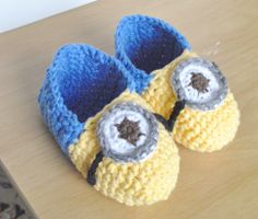 minion inspired crocheted in one piece slippers for 3-4 and 5-6 year olds. - NOW 50% OFF WITH COUPON CODE MINION