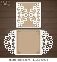 Cutout paper gate fold card for laser cutting or die cutting template. Suitable for greeting cards, invitations, menus. Invitation Mockup, Laser Cut Invitation, Wedding Invitation Card Template, Laser Cut Wedding Invitations, Cricut Wedding, Wedding Cards, Kirigami, Pop Up Cards, Die Cutting