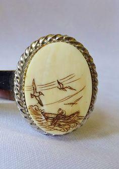 VINTAGE SCRIMSHAW TIE Bar Man I Boat With Seagulls by vintagelady7