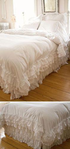 Romantic White Shabby Chic Bedding   http://diyready.com/12-diy-shabby-chic-bedding-ideas/