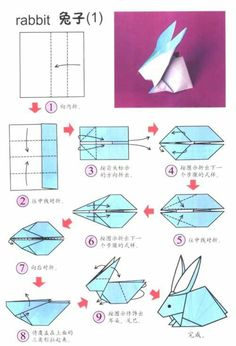Origami Bunny manual Easter decoration ideas