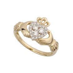 Damen Claddagh Ring aus 14 Karat Gold und Diamanten