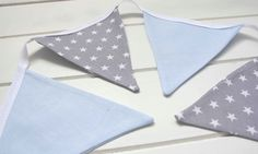Blue and Grey Star Nursery Bunting by LinenandLaceHandmade on Etsy, £6.00