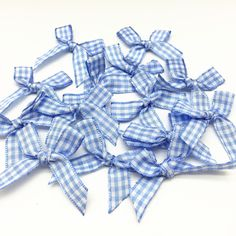 Pack of 10 Baby Pink Gingham 15mm 5.5cm Satin Ribbon Ready Made Craft Bows