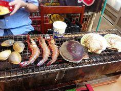 seafood BBQ at Kisarazu port, Chiba♥ Seafood Bbq, Chiba, Fabulous Foods, Sausage, Meat, Street, Cooking, Life, Kitchen