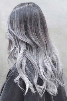 Charcoal Hair Color 33541 27 Silver Hair Ideas for Daring Women Hair Color Blue Silver Ombre Hair, Brown Ombre Hair, Ombre Hair Color, Cool Hair Color, Ash Ombre, White Ombre, Grey Balayage, Balayage Hair, Haircolor