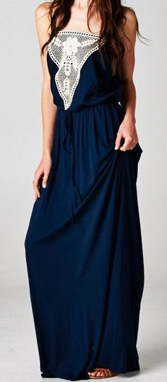 Dark navy strapless long maxi dress