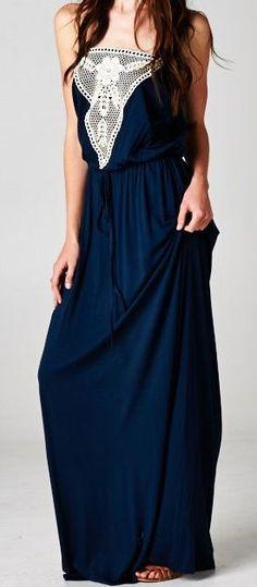 Dark navy strapless long maxi dress