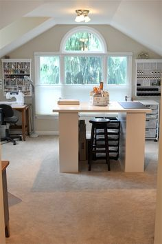 attic craft room ideas | Craft room...love the window! If attic becomes my craft studio, i will ...