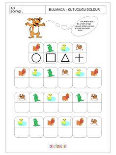 Kodning af dyr og geometriske former Kindergarten Learning, Preschool Math, Fun Math, Teaching Math, Kids Learning, Mazes For Kids, Worksheets For Kids, Educational Activities For Kids, Preschool Activities