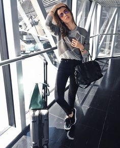 Make the airport your runway.How do you select an ensemble that will be comfortable enough to travel in?This cool and casual airport style can be extended on your working station. Airport Look, Airport Style, Airport Fashion, Airport Outfits, Rare Fashion, Womens Fashion, Ladies Fashion, Cool Outfits, Fashion Outfits