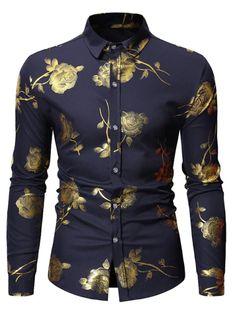 gentlecasual / Herren Hipster Bronzing Rose Print Shirt Herren Langarm Gold Floral Button Down Dress Shirts Schwarz Slim Fit Prom Chemise Hommes Tops Style Retro, Style Vintage, Men's Style, Casual Button Down Shirts, Casual Shirts, Cheap Long Sleeve Shirts, Moda Men, Men Dress, Shirt Dress