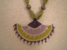 necklace turkish needle lace purple lilac green by PashaBodrum