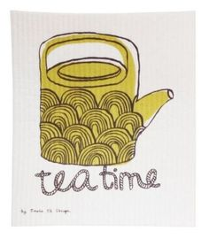 Tea Time Yellow Dish Cloth - by Emelie Ek Design / at designsofsweden.com Swedish Kitchen, Graphic Illustration, Illustrations, Tea Time, Dishes, Yellow, Design, High Tea, Plate
