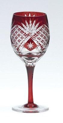 Sklenička na víno * broušené červené sklo * Krystal
