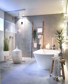 Modern bathroom with concrete look, walk-in shower, free-standing bathtub and plants.Modern bathroom with concrete look, walk-in shower, free-standing bathtub and plants. Bad Inspiration, Bathroom Inspiration, Bathroom Ideas, Bathroom Organization, Bathroom Small, Colorful Bathroom, Cozy Bathroom, Scandinavian Bathroom, Attic Bathroom