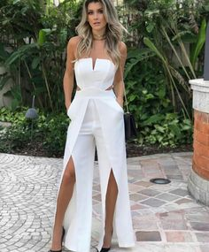 Fashion Strapless Split leg Floor-Length White Prom Jumpsuit simple white long prom jumpsuits,sexy sweetheart summer outfits with high split,chic long prom dresses for teens - Jumpsuits and Romper Prom Outfits, Prom Dresses For Teens, A Line Prom Dresses, Mode Outfits, Classy Outfits, Homecoming Dresses, Evening Dresses, Summer Outfits, Formal Dresses