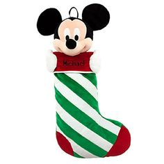 Disney Store Mickey Mouse Christmas Stocking Plush Head Green Red Decorated
