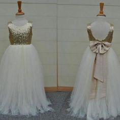 Sequins Tulle Flower Girl Dresses Hand Made