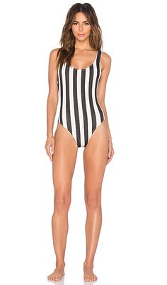 Solid & Striped The Anne Marie One Piece in Black & Cream Bold Stripe | REVOLVE