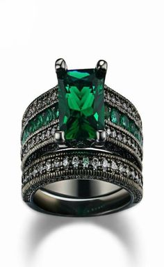 Absolutely Gorgeous Set of Black Gold Zirconia Ring Free shipping  uzrah.com