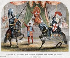 Richard II stopping the combat between the Dukes of Norfolk and Hereford, 1398. The king intervening in the blood feud between Henry Bolingbroke, Duke of Hereford and Thomas de Mowbray, 1st Duke of Norfolk.