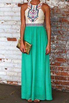 Geometric Print Splicing Sleeveless Maxi Dress