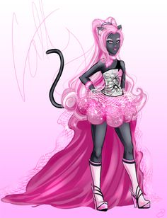 Catty Noir by JetBlackSteel Catty Noir, Monster High Dolls, Scary, Pink, Anime, Black, Black People, Im Scared, Cartoon Movies