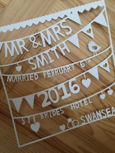 Mr And Mrs Smith, Cut Image, 1st Anniversary, Christening Gifts, Paper Gifts, Color Themes, Paper Cutting, Wedding Gifts, My Etsy Shop
