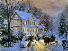 thomas-kinkade-home-for-the-holidays - snow, christmas, holiday, painting, art, horse, thomas kinkade 9/27/15