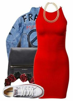 what color shoes to wear with red dress - cute dresses outfits Fashion Moda, Cute Fashion, Urban Fashion, Teen Fashion, Fashion Outfits, Womens Fashion, Fashion Trends, Fashion Pics, Outfits With Converse