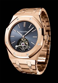Audemars Piguet Extra Thin Royal Oak Tourbillon in 41mm 26510OR.OO.1220OR.01   Watch is fitted with the 216-part Calibre 2924 beats at a frequency of 21,600 vibrations per hour and is facilitated with a 70-hour power reserve. The 41-mm diameter case is 8.85 mm thick and is water resistant up to 50 meters.