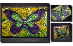 """Golden Sunshine"" butterfly, Cherie Bosela - Mosaic Artist - 2012"
