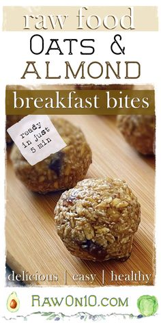 Oats and Almond Breakfast Bites are raw and super simple to make, take less than 5 minutes, and use healthy ingredients. They make a perfect snack on the go and a few are ideal for breakfast. They're full of healthy, complex, whole-food carbs for lots of energy and also protein so they stick with you. Sugar Free Recipes, Baking Recipes, Whole Food Recipes, Raw Vegan Recipes, Healthy Recipes, Breakfast Bites, Raw Desserts, Plant Based Recipes, Free Food