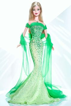From: Barbiecollector.com August Peridot Barbie Doll Such an amazing dress!: