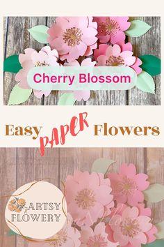 Flower Petal Template, Flower Svg, Paper Flower Tutorial, Easy Paper Flowers, Diy Flowers, Nursery Wall Decor, Diy Wall Decor, Spring Blossom, Cherry Blossom