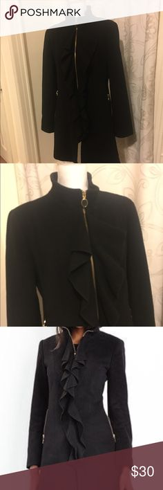 TAHARI Kendra wool coat Lining in the back and arms need to be sewn. I gained weight and tore the lining. For some reason I managed to tear the pocket lining as well. Otherwise, the coat is in perfect condition. My weight gain is your gain. Tahari Jackets & Coats