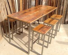 Apt hack table using reclaimed wood & easy metal legs