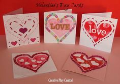 Valentine's Day cards - sewing and threading from Red Ted Art